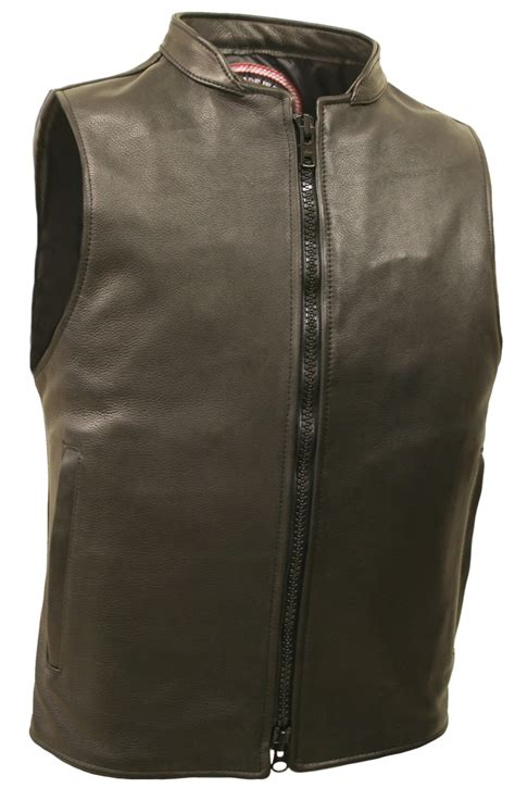 zipper leather vest aka racer vest