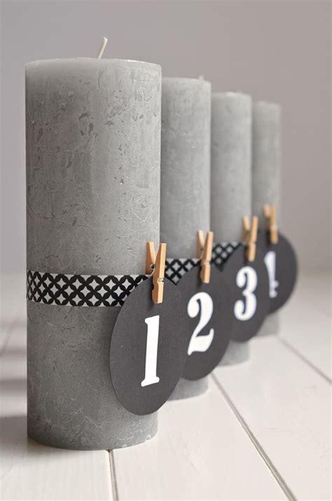 Adventskranz Ohne Tannengrün by Diy F 252 R Puristische Adventskerzen Mit Zahlen Und Ohne
