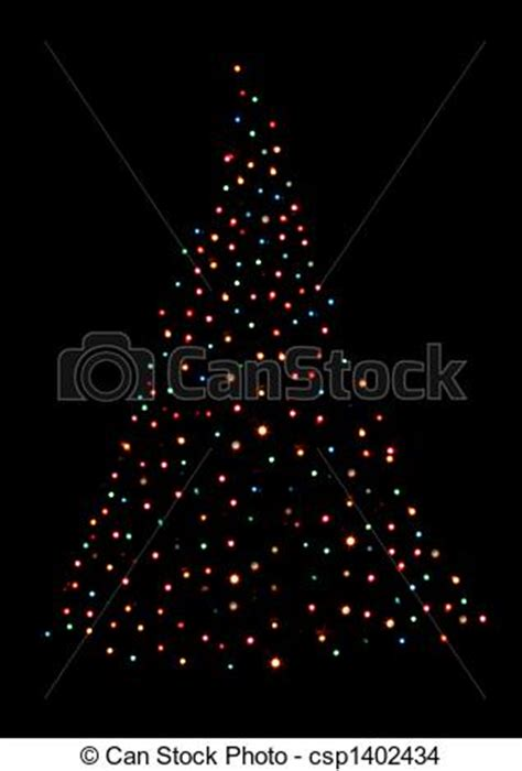 stock photo of christmas tree shaped with lights a