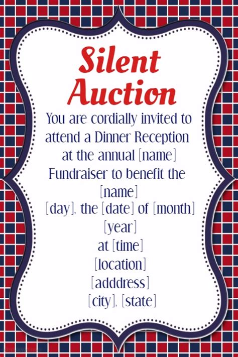 Silent Auction Invitation Flyer Template Small Business Silent Auction Dinner Reception Fundraiser Invitation