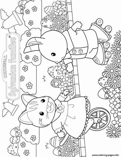 Sylvanian Coloring Calico Critters Pages Families Printable