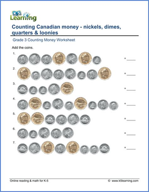 canadian money worksheet nickels dimes quarters and loonies k5 learning