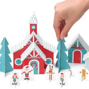 christmas paper village holiday toy diy craft kit paper toy hol