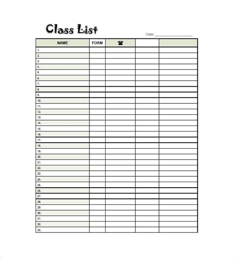 class roster template class list template 8 free sle exle format free premium templates