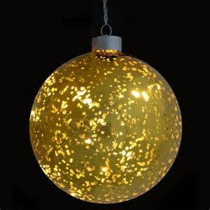 13cm led light up gold plated glass bauble decoration