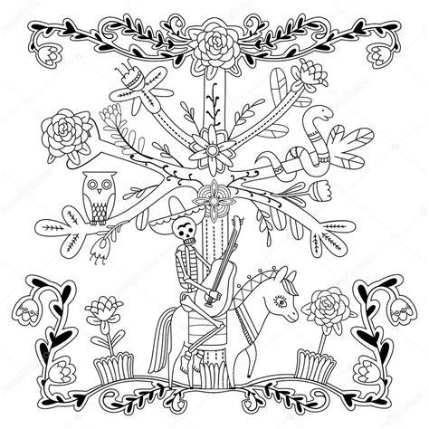Kleurplaat Skelet Mens by Volwassen Kleurplaat Met Bloemen Skelet Paard Boom Uil
