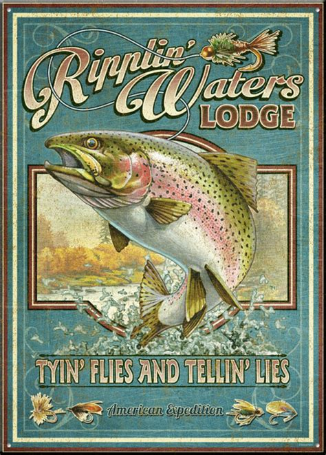 ripplin waters vintage tin sign american expedition