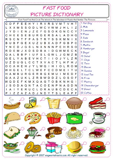 fast food esl printable english vocabulary worksheets