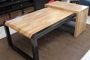 Table Chene Et Metal : fabrication table basse bois m tal r alisation client ~ Teatrodelosmanantiales.com Idées de Décoration