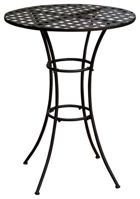black wrought iron outdoor bistro patio table with