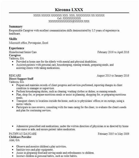 Resume For Caregiver by Caregiver Resume Objectives Resume Sle Livecareer