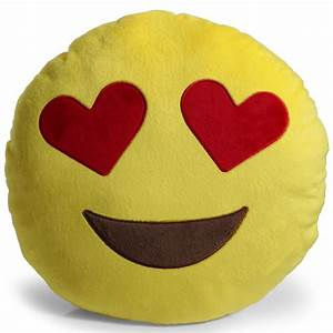 Emoji Heart Eyes Pillow Plush Round Cushion Stuffed Toy
