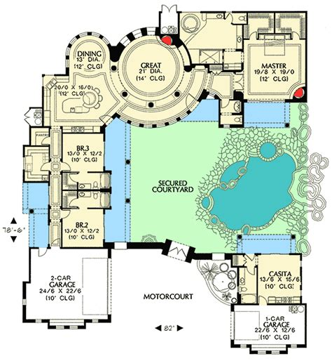 courtyard plans courtyard plan with guest casita 16312md architectural