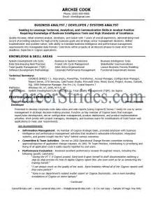 Business Analyst Resume Objectives by Resume Objective Statement Exles Business Analyst