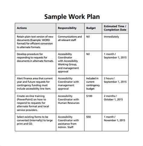sample work plan templates  google docs ms