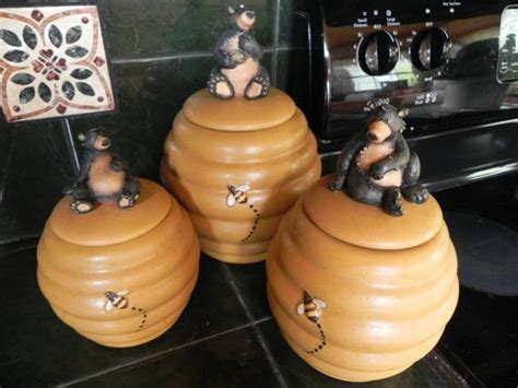 honour bear canister set  beehive honeycomb