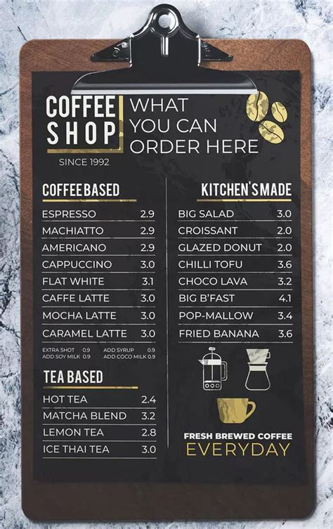 coffee shop menu  miaodrawing  envato elements