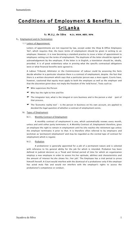 Conditions of employment & benefits by Jayadeva de Silva