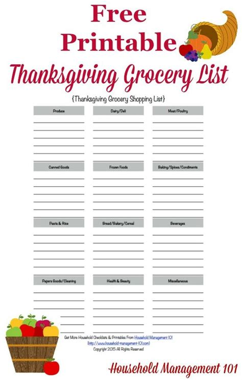 thanksgiving list of foods big day the o jays and shopping list templates on pinterest
