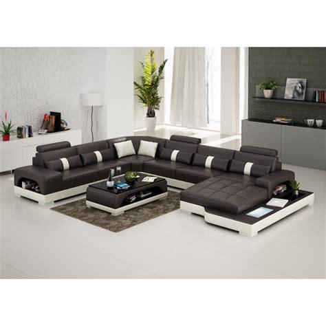 canapé d 39 angle panoramique en cuir lyon avec éclairage