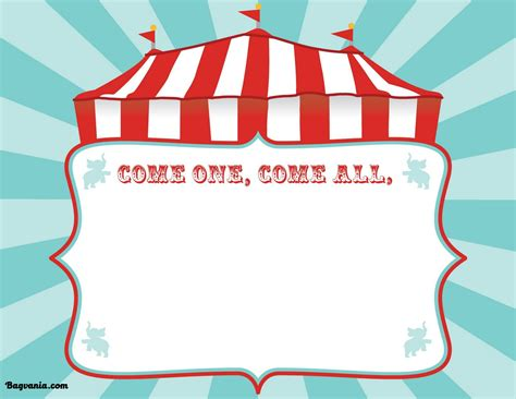 Circus Signs Template by Free Printable Circus Birthday Invitations Template