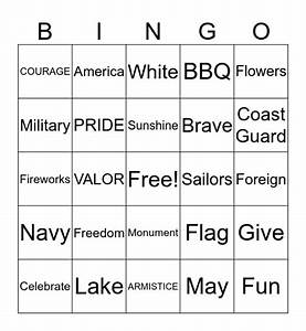 Memorial, Day, Bingo, Card