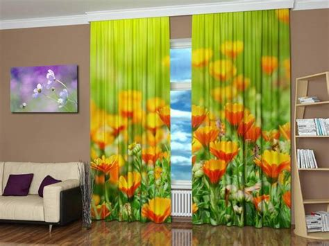 Window Curtains With Colorful Art Prints Beautiful