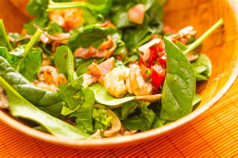 how to make shrimp salad how to make shrimp salad with warm bacon dressing and summer bruschetta