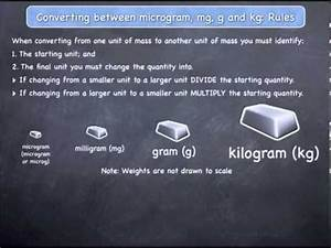 Chart Of Gram Conversions Converting Between Micrograms Mg G And Kg Rules Youtube