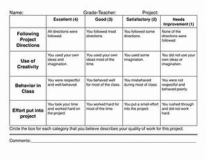 4 best images of elementary art rubric printable With elementary rubric template