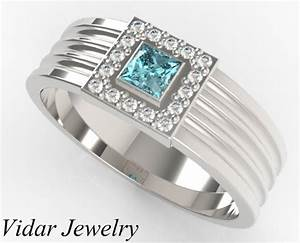 men39s princess cut aquamarine wedding band vidar jewelry With mens aquamarine wedding ring