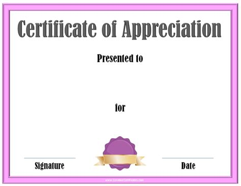 Certificate Of Thanks Template by Free Editable Certificate Of Appreciation Customize
