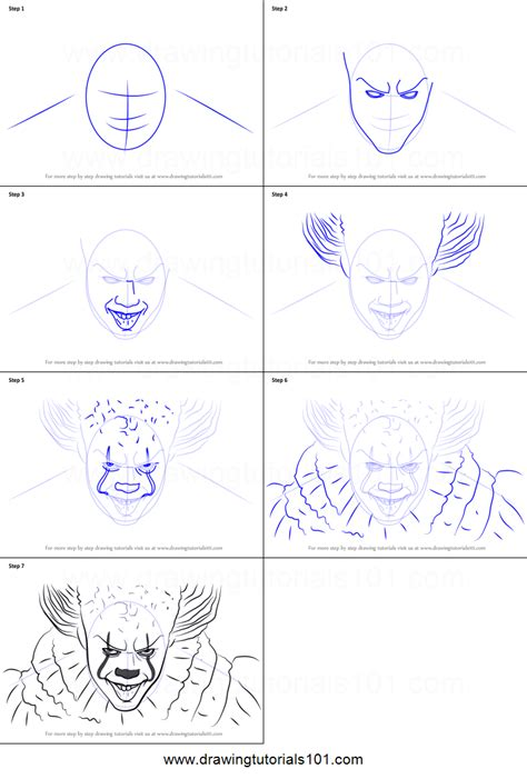 draw pennywise printable step  step drawing sheet