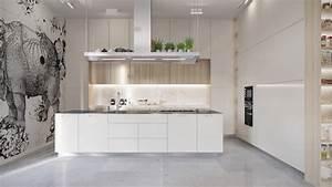 1001 conseils et idees pour amenager une cuisine moderne With cuisine blanche sol gris