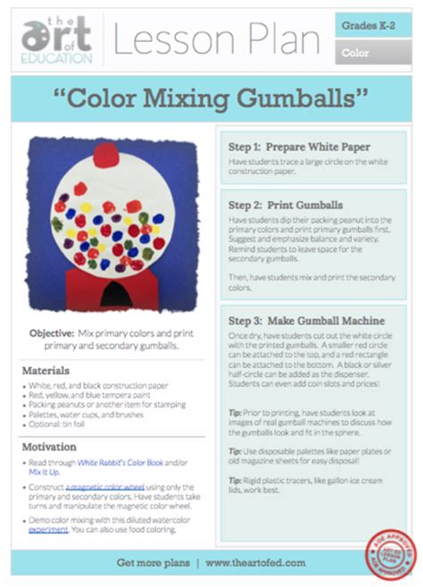 Color Mixing Gumballs Free Lesson Plan Download  The Art Of Ed