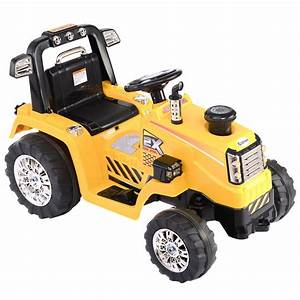 12v Battery Powered Kids Ride On Tractor Electric Toys W   Mp3 Led Lights Yellow
