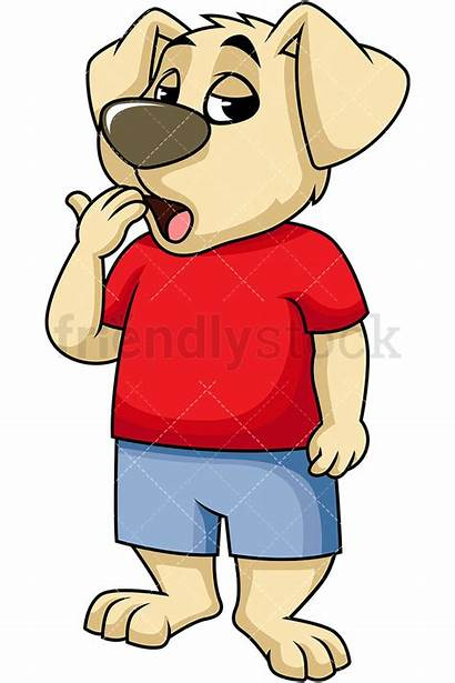 Bored Dog Yawning Character Cartoon Clipart Mascot