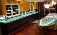 glass counter tops Modern Kitchen Countertops from Unusual Materials: 30 Ideas