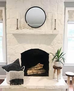 Love, This, White, Painted, Stone, Fireplace, Makeover, By, My, Neighbor, Heathhostett, U2026