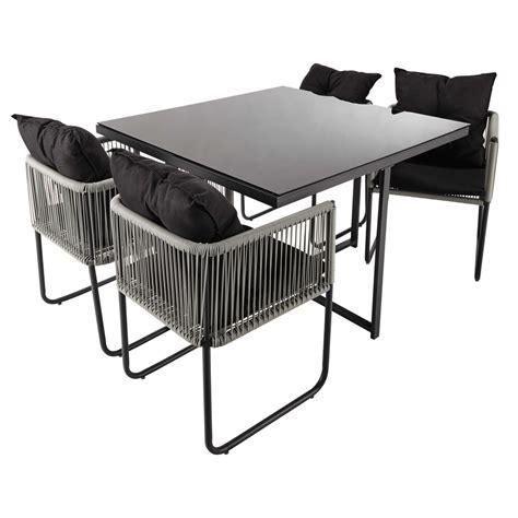 table de jardin 4 chaises table de jardin 4 chaises de jardin en résine et tissu noir l 107 cm swann maisons du monde