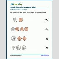 Counting Coins Worksheets For Preschool And Kindergarten  K5 Learning