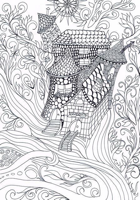 illustration zentangle treehouse drawing