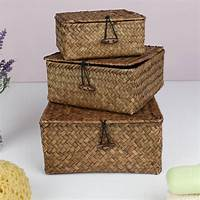 storage with baskets set of three wheat straw storage baskets with lids by ...