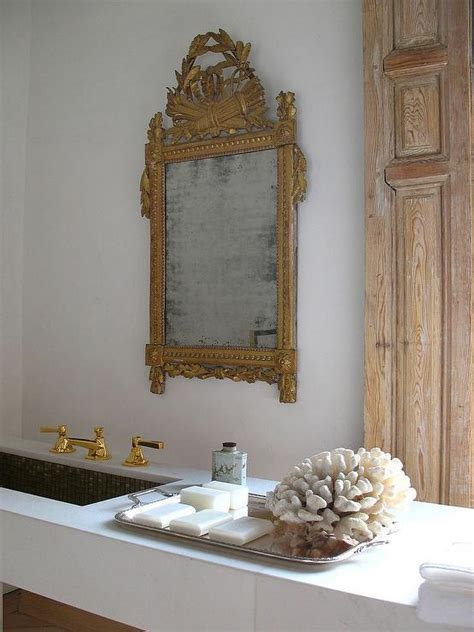 Ornate Bathroom Mirror by Marble Floating Vanity With Gold Ornate Mirror