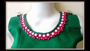 Contrast Blouse Back Neck Design Pearl Loop Neckline For Kurtis Salwar Kameez Blouses