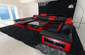 leather sectional sofa enzo xxl black red ebay With red and black leather sectional sofa