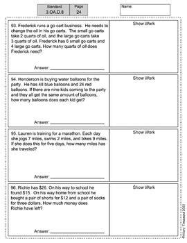 3rd grade 160 word problems math problem solving ccss all