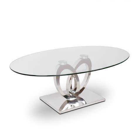 dessus de canape table basse inox et verre ellipse