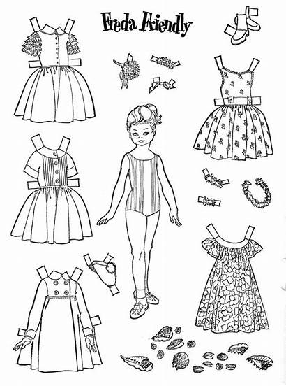 Paper Doll Dolls Printable Freda Friend Friendly