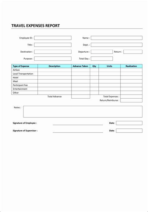 accommodation expense report template